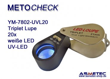 METOCHECK YM-7802-UV-LED, Triplet 20fach mit LED-Beleuchtung