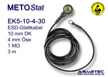 ESD coil cord EK5 for floor mats, 10 mm snap - www.asmetec-shop.de