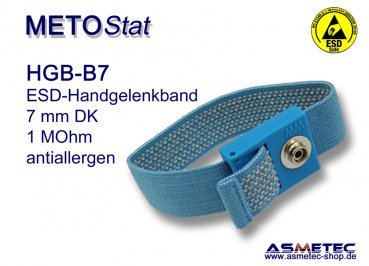 ESD wristband HGB-B7, 7 mm snap, anti allergen - www.asmetec-shop.de