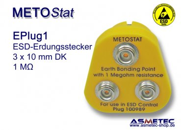 ESD Grounding-Plug EPlug1, 3 x 10 mm male snap