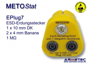 ESD Grounding-Plug EPlug7, 1 x 10 mm male snap, 2 x banana