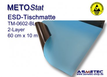 ESD tablke mat TM-0602-10-BL, light blue, 60 cm x 10 m