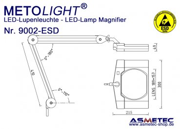 Metolight ESD LED Lamp Magnifier 9002