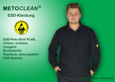 METOCLEAN ESD-Polo-Shirt PL48L-SW, black, long sleeves, unisex - www.asmetec-shop.de