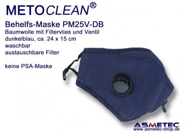 METOCLEAN Adult Anti Dust Face Mask PM25V-BL, with valve, blue, washable