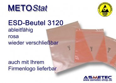 Metostat ESD dissipative bag 3120, with zip - www.asmetec-shop.de