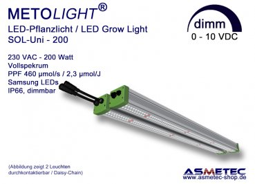 METOLIGHT LED-Growlight Sol-Uni-200, 200 Watt, dimmable, IP66