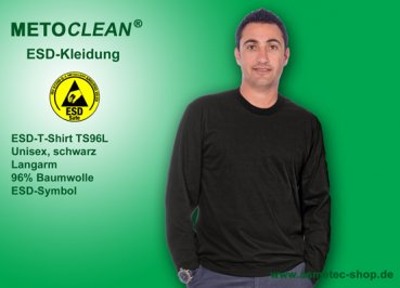 Metoclean ESD-T-Shirt TS96L-SW-S, long sleeves, black, size S