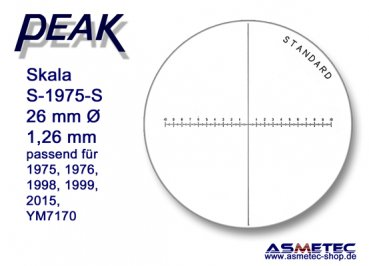 Peak glas scale 1975-S for scale loupe 1975, - www.asmetec-shop.de
