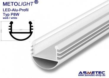 asmetec shop led lichttechnik und techn produkte led aluminium profil p8w 2 wei 2 m lang. Black Bedroom Furniture Sets. Home Design Ideas