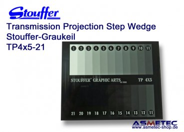 Stouffer TP4x5-21, 21 step transmission projection step wedge, increment 0.15