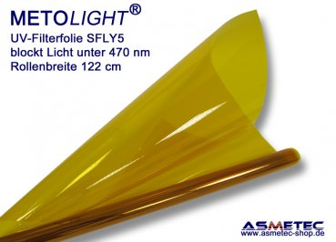 UV filter foil SFLY5, yellow, blocks light below 470 nm, rollware