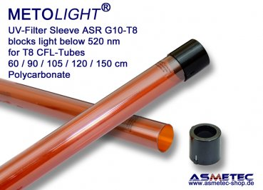 Metolight ASR-G10 UV-filter sleeve T8, amberr, 520 nm - www.asmetec-shop.de