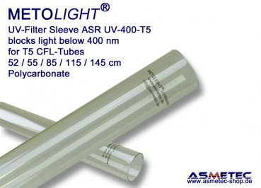 Metolight ASR-UV400 UV-filter sleeve T5, clear, 400 nm - www.asmetec-shop.de