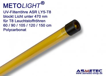 UV-Filter sleeve T8-ASR-LY5, yellow, 470 nm, 105 cm for 38W CFL tube
