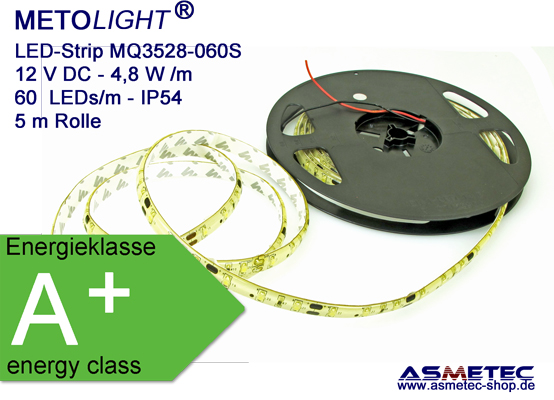 LED-Strip MQ3528-12-060S-GE, yellow, IP54, silicone coating, 5-m-reel