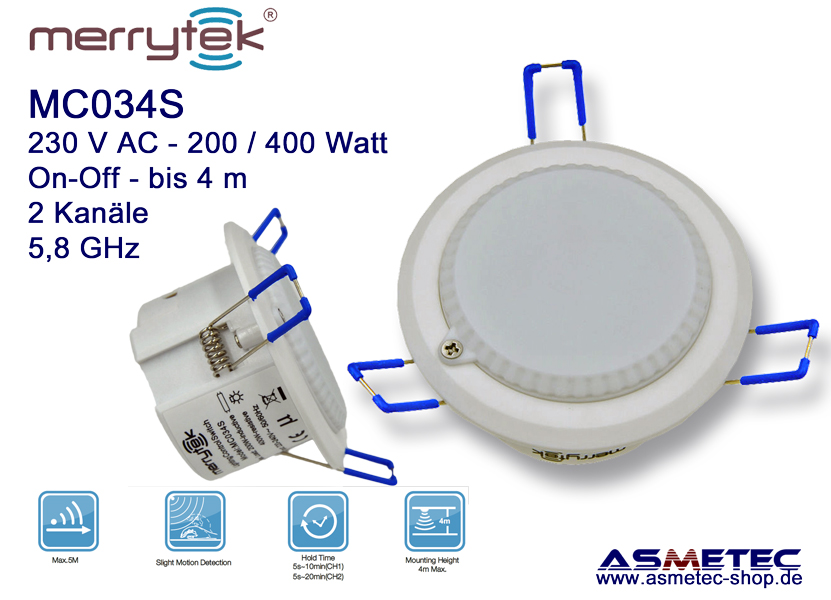 Merrytek MC034S - Microwave Motion Sensor, 2 channel