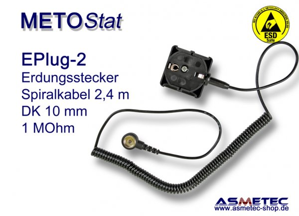 Metostat Grounding Plug EPlug2, 10 mm snap and coil cord - www.asmetec-shop.de