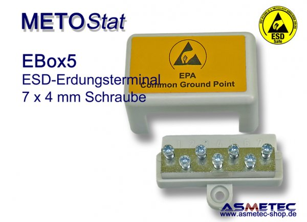 Metostat ESD grounding terminal EBOX5, 7 x 4 mm screw - www.asmetec-shop.de