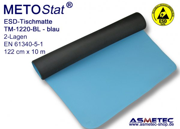 ESD-Table-Mat TM-1220-BL, solder proof, antistatic table mat, dissipative