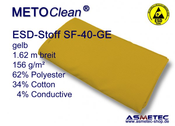METOCLEAN ESD woven fabric SF40-GE, yellow - www.asmetec-shop.de