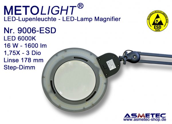 Metolight ESD LED Lamp Magnifier 9006