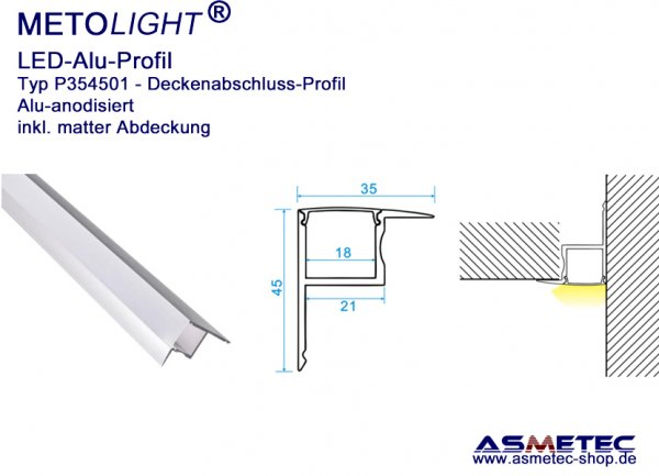Aluminium-LED-Profile under plaster