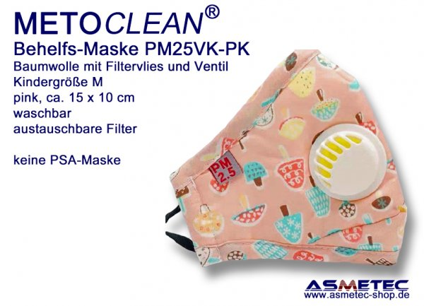 METOCLEAN Children Anti Dust Face Mask PM25VK-PK, pink, washable