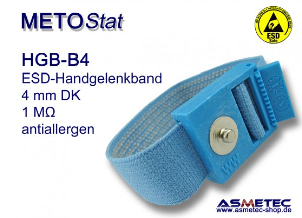 ESD wristband HGB-B4, 4 mm snap, anti allergen - www.asmetec-shop.de