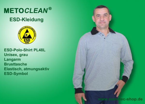 METOCLEAN ESD-Polo-Shirt PL48L-GR, grey, long sleeves, unisex - www.asmetec-shop.de