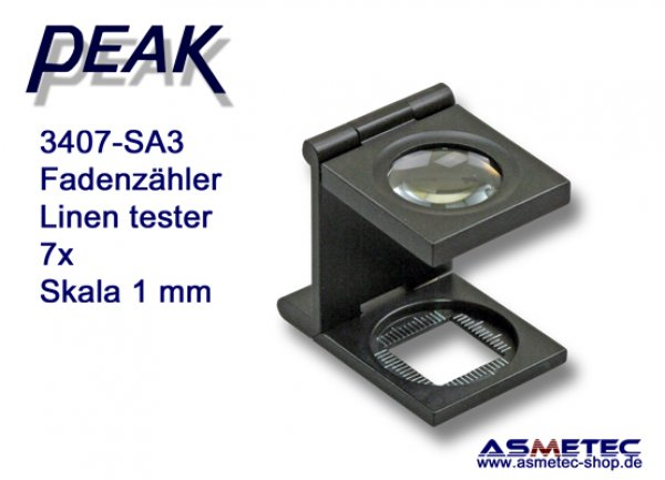 PEAK 3407-SA3 Fadenzähler, 7fach - www.asmetec-shop.de, peak optics, PEAK-Lupe