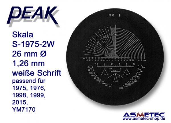 Peak glas scale 1975-2W, white printing,  for scale loupe 1975, - www.asmetec-shop.de