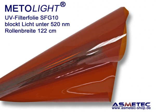 UV-filter foil Metolight SFC10, blocks light below 400 nm - www.asmetec-shop.de