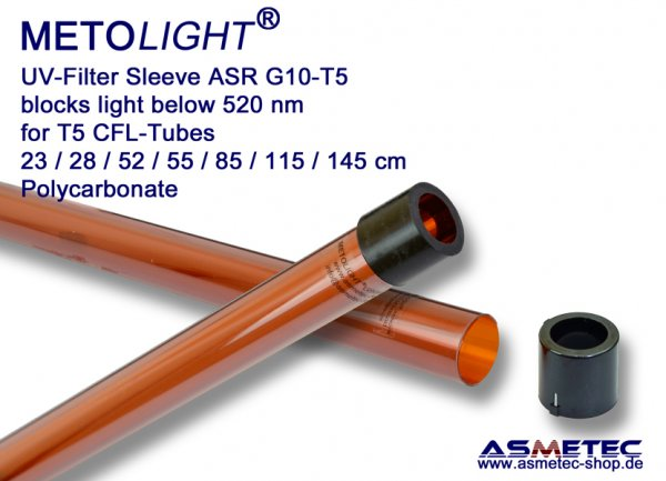 Metolight ASR-G10 UV-filter sleeve T5, amberr, 520 nm - www.asmetec-shop.de