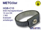 ESD wrist strap HGB-C10, stainless steel, 10 mm snap