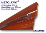 UV filter foil SFG10, amber, blocks light below 520 nm, cut off