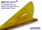 UV filter foil SFLY5, yellow, blocks light below 470 nm, roll cut off